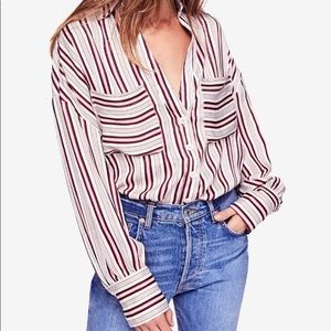 Free People Mad About You Striped Silky Top